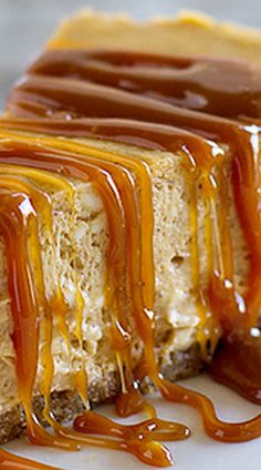 Pumpkin Cheesecake with Caramel Sauce ~ A creamy pumpkin cheesecake is topped with a caramel sauce for this decadent fall dessert.