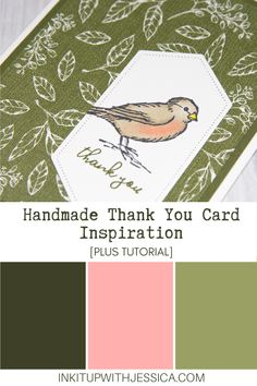 This easy bird thank you card was made with the Free as a Bird stamp set from Stampin' Up! Read on for tips on using the Stampin' Blends markers to color. Handmade Cards For Friends, Handmade Thank You Cards, Birthday Cards For Friends, Handmade Birthday Cards, Card Making Ideas For Beginners, Card Making Tips, Card Making Tutorials, Card Making Techniques, Easy Bird
