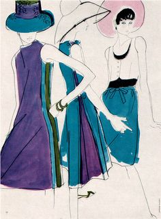 By Mouchy, 1 9 6 6, Illustration for French Vogue from Gebrauchsgraphik.