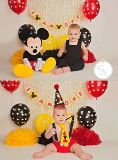 New baby boy birthday table mickey mouse ideas Mickey 1st Birthdays, Baby Boy 1st Birthday Party, 1st Birthday Photoshoot, Mickey Mouse Clubhouse Birthday, Mickey Birthday, Birthday Table, Birthday Ideas, Cake Birthday, Theme Mickey