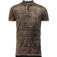 Avant Toi Distressed Knit Polo Shirt (£320) ❤ liked on Polyvore featuring men's fashion, men's clothing, men's shirts, men's polos, mens ripped shirts, mens distressed shirt, mens brown shirt, mens polo shirts and mens destroyed t shirt