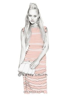 Kelly Smith Fashion Illustration A clean fresh look! Illustration Mode, Fashion Illustration Sketches, Fashion Sketchbook, Fashion Sketches, Fashion Drawings, Fashion Moda, Fashion Art, Fashion Beauty, Fashion Design