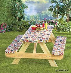 3 Piece Fitted Picnic Table & Bench Seat Cover Set SUMMERTIME COOKOUT Elastic Fit Patio Tablecloth. For product & price info go to:  https://all4hiking.com/products/3-piece-fitted-picnic-table-bench-seat-cover-set-summertime-cookout-elastic-fit-patio-tablecloth/
