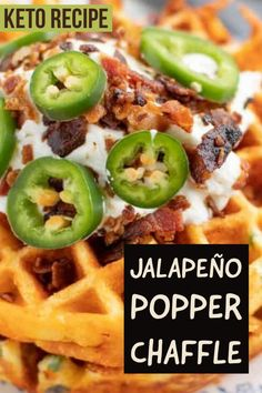 This savory chaffle recipe is the perfect keto lunch or main dish. Jalapeño popper chaffle are full of flavor and delicious. This savory chaffle recipe is the perfect keto lunch or main dish. Jalapeño popper chaffle are full of flavor and delicious. Ketogenic Diet Breakfast, Low Carb Breakfast, Breakfast Recipes, Breakfast Ideas, Ketogenic Recipes, Low Carb Recipes, Diet Recipes, Low Carb Appetizers, Appetizer Recipes