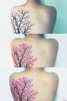 I will say that this is almost certainly not a tattoo, or it is at least only a black tattoo with the other colors painted/edited on as tattooing white/light pink spots over black is not going to go well. That said, I love how the blossoms cascade across the back in the last panel.