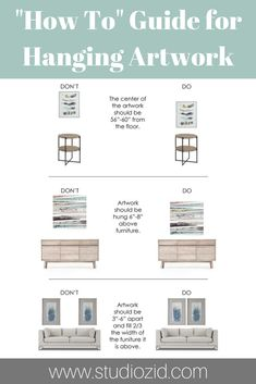 Use this guide to learn how to hang artwork in your home! This guide shows where to hang artwork over an accent or side table, a sideboard or console table, and a sofa! You can use these tips for… Interior Design Trends, Interior Design Career, Home Interior, Luxury Interior, Design Ideas, Interior Decorating Tips, Modern Interior, Hanging Artwork, Design Shop