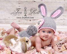 Handmade crocheted newborn baby bunny hat and diaper cover set