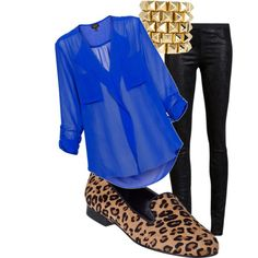 Sheer Cobalt Blue Button Up Blouse + Leather Pants + Leopard Smoking Slippers + Gold accessories