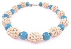 Miriam Haskell Necklace Sisal Beads Turquoise by LadyandLibrarian