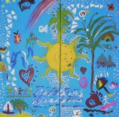 Networking Event - DoodleJam Ice Breaker - vibrant group paintings using doodles #DoodleJam