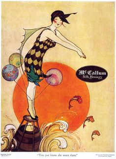 Marjorie C Woodbury illustration for McCallum Silk Hosiery, 1917