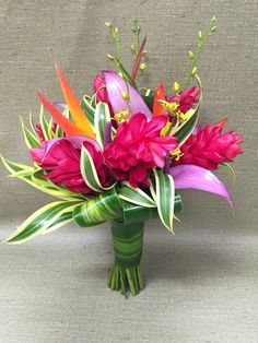 Ginger orchid anthurium parrot heleconia Hawaii tropical wedding bouquet