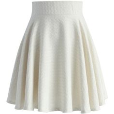 Chicwish Zig Zag Twill Skater Skirt in Ivory (1,715 PHP) ❤ liked on Polyvore featuring skirts, white, flared skirt, ivory skater skirt, floral skater skirt, white flared skirt and floral knee length skirt