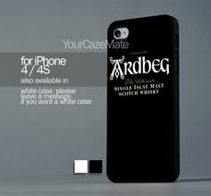 Ardbeg Distillery Single For iPhone 4 or 4S Hard Plastic Black Case   YourCazeMate - Accessories on ArtFire