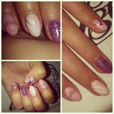 Pastel pink nails glitter feather