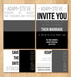 Gay Wedding Invitation Stationery Set by ShoshyCadoodle on Etsy