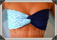 Mint Navy Chevron Bandeau Top Spandex Bandeau Bikini Swimsuit on Etsy, $30.00