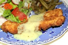 Nubby Fried Chicken Planks - a grown up version of chicken tenders, serve with mashed potatoes, or as shown here, with a homemade chicken gravy, quick fix green beans and a garden salad.