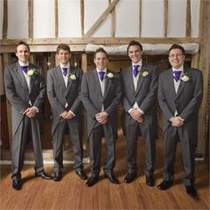 For the Grooms wear, Sarah and Craig were impressed by the quality and price that Mr Savile of Brentwood had to offer. Sarah spotted the groomswear company at a wedding fayre and decided that this was the best place to hire the outfits for the day.Craig wore a dark grey morning suit with a silver waistcoat whilst the rest of the groom's party wore ivory waistcoats. All men wore Cadbury purple cravat and handkerchiefs; sticking to the wedding's colour theme of lilac, silver and ivory.