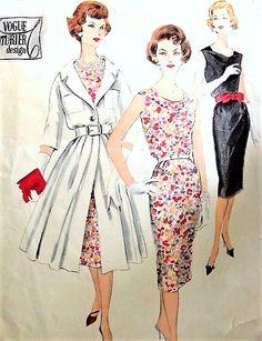 1950s STUNNING Cowl Neckline Slim Cocktail Dress and Redingote Coat Pattern VOGUE Couturier Design 178 Pure Elegance Bust  34 Vintage Sewing Pattern