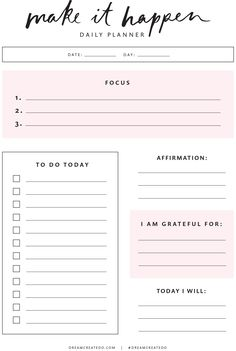 Put in frame to be reusable, daily affirmations, planner, intention setting To Do Planner, Daily Planner Pages, Weekly Planner Printable, Study Planner, Free Planner, Goals Planner, Planner Template, College Planner, Daily Planners