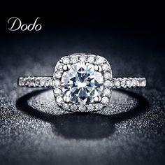 Exquisitos anillos de boda anillos de compromiso para mujeres oro blanco plateó la joyería anillos de lujo cuadrada accesorios bijoux anel DR035