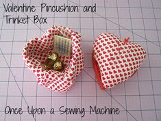 DIY Valentine Pin Cushion and Trinket Box - Once Upon a Sewing Machine Fun Projects For Kids, Easy Sewing Projects, Diy Craft Projects, Craft Tutorials, Sewing Tutorials, Crafts For Kids, Diy Valentine, Sewing Table, Valentine's Day Diy