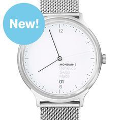 Helvetica Light 38mm (white/brushed silver) watch by Mondaine. Available at Dezeen Watch Store: www.dezeenwatchstore.com
