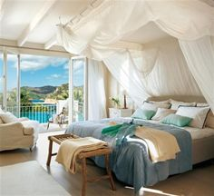 Simple Design in Coastal Bedroom Decorating Ideas. The canopy gives the illusion of sails in the wind.