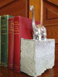 diy cement dino bookend