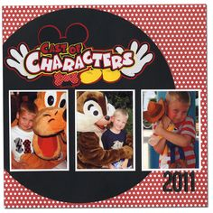 Disney World scrapbook layout, Characters