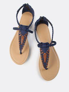 Braided Leather Thong Sandal NAVY $22.44  MakeMeChic.COM.
