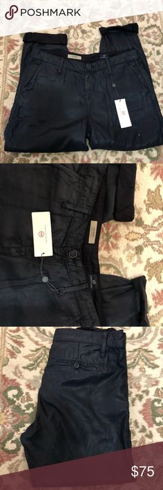 Adriano goldschmied Coated pants Boyfriend AG coated trouser. The dark navy has a nice sheen to it. Never been worn! Ag Adriano Goldschmied Jeans Boyfriend