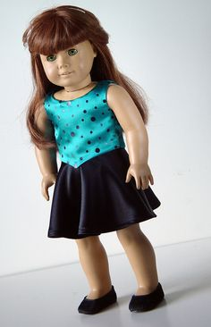 great idea American Girl Doll Clothes -- Reversible Top and Skirt
