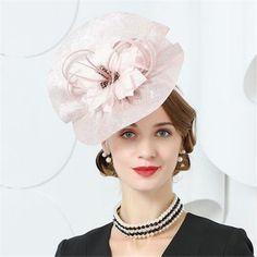 Flower pink wedding fascinator headband for lady fashion Kentucky Derby  racing hats 86d317f1d249