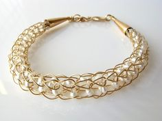 Gold wire crochet bracelet pearls bridal on Etsy $28