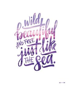 Items similar to Wild beautiful and free just like the sea, hand lettered quote with purple beach sunset photo, linen art print on Etsy Beach Sunset Quotes, Sunset Quotes Beautiful, Beach Life Quotes, Sea Quotes, Pretty Quotes, Summer Quotes, Words Quotes, Quotes About Sunset, Lyric Quotes