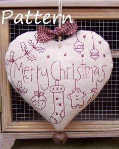 PATTERN - Prim Linz Merry Christmas Redwork Heart Pattern