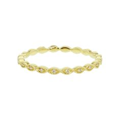Petite Yellow Gold Stackable Diamond Ring from Steven Singer Jewelers #weddingring
