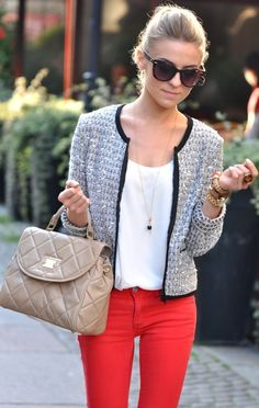 chanel-esque jacket, soft tee, bright jeans. <3