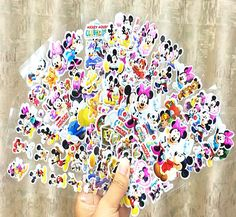 5pcs Fashion Brand Kids Toys Cartoon Mickey and Minnie mouse 3D Stickers Children girls boys Stickers Bubble Stickers