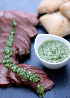 Smoked Tri-Tip Sandwiches with Chimichurri Sauce