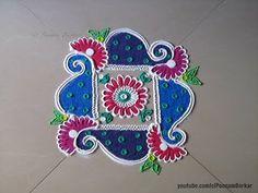 Easy, small and quick swastik rangoli design | Innovative rangoli designs by Poonam Borkar - YouTube