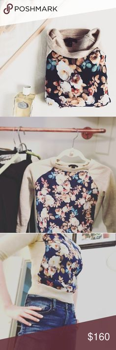 JCrew Wool Silk-Paneled Sweater in Antique Floral Excellent condition JCrew Sweater with a blue, floral silk front. Three quarter sleeves. Sits at hip. Perfect for fall through spring! Like NEW. J. Crew Sweaters Crew & Scoop Necks