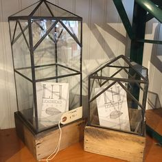 New Leadhead Terrarium containers from Detroit. Salvage wood and glass from buildings make up these beautifully designed showpieces. Onemercantile.com