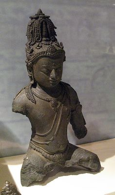 9th C. Srivijayan Buddhist bronze of Maitreya. South Sumatra, a stupa adorns his crown.