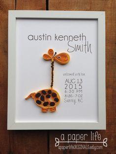 quilled giraffe birth announcement // deep by APaperLifeOriginals