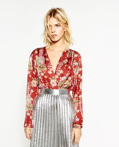 ZARA - WOMAN - PRINTED BODYSUIT WITH CROSSOVER NECKLINE