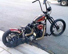 Custom Bike World: Photo Harley Bobber, Harley Davidson Chopper, Harley Bikes, Custom Bobber, Custom Choppers, Custom Motorcycles, Custom Motorcycle Paint Jobs, Motorcycle Design, Chopper Motorcycle