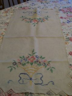 Embroidery Table Runner Vintage Flowers in by FabVintageEstates
